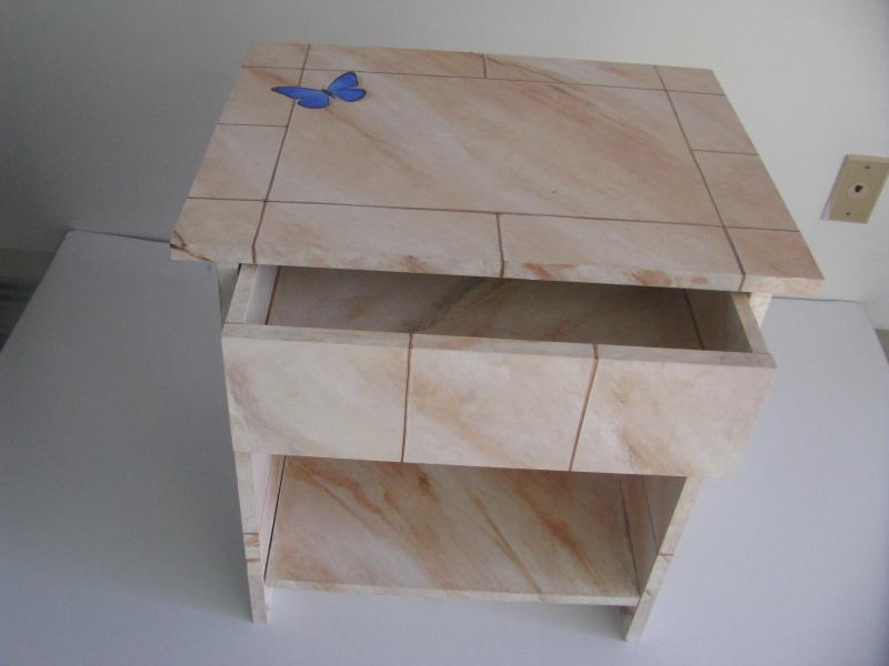 Marble side table drawer out